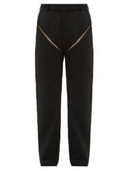Y Project Cut Out Wool Trousers Black