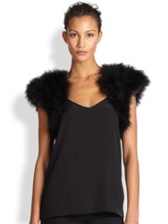 Harrison Morgan Feather Shrug Black