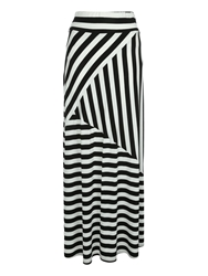 Jane Norman Striped Maxi Skirt Black