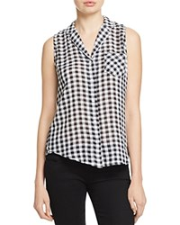 Andrea Jovine Gingham Button Down Blouse Compare At 48 Black
