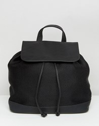 Pieces Mesh Backpack With Foldover Top Black