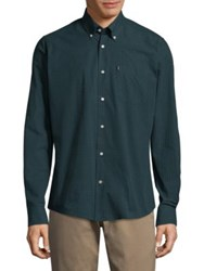 Barbour Woven Cotton Casual Button Down Shirt Dark Forest