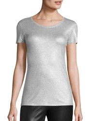 Saks Fifth Avenue X Majestic Filatures Metallic Short Sleeve Tee Silver Gris Chine