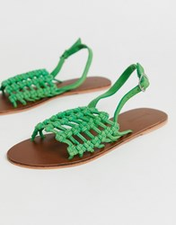 Warehouse Leather Knotted Detail Sandal In Green