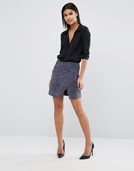 Vila Zip Detail Suede Mini Skirt Dark Grey
