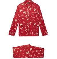 Rrl Printed Woven Pyjama Set Red