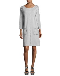 Joan Vass 3 4 Sleeve Embellished Shift Dress Petite Cloud Heather