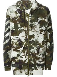Off White Camouflage Print Hoodie Multicolour