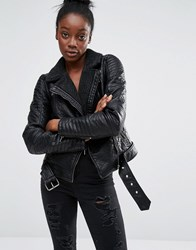 Only Bonded Faux Leather Biker Jacket With Lining Black