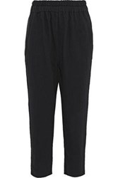 Simon Miller Rincon Cropped Cotton Twill Tapered Pants Black