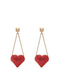 Valentino Heart Rockstud And Crystal Drop Earrings Red