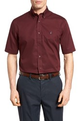 Nordstrom Men's Big And Tall Men's Shop Traditional Fit Short Sleeve Sport Shirt Burgundy Royale