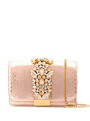 Gedebe Clicky Snakeskin Effect Clutch Pink