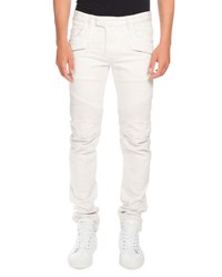 Balmain Skinny Stretch Denim Biker Jeans White