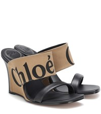 Chloe Canvas And Leather Wedge Sandals Black