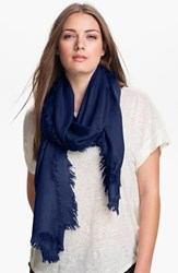 Nordstrom Women's Cashmere And Silk Wrap Navy Dusk