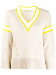 Dorothee Schumacher Contrast V Neck Cable Knit Top 60
