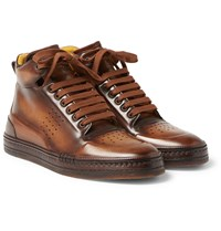 Berluti Playtime Burnished Venezia Leather High Top Sneakers Brown