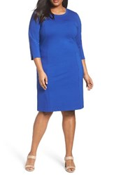 Sejour Plus Size Women's Ponte Knit Shift Dress Blue Mazarine
