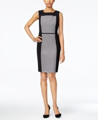 Nine West The Essential Colorblocked Sheath Dress Gray Black