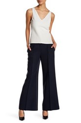 Lafayette 148 New York Kenmare Flared Wool Blend Pant Petite Blue