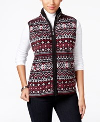 Karen Scott Printed Fleece Vest Only At Macy's Deep Black