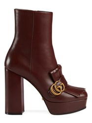 Gucci Gg Marmont Heeled Boots Red