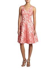 Teri Jon Jacquard Cocktail Dress Coral