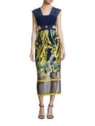 Three Floor Golden Globe Embroidered Midi Dress Navy Buttercup Yellow