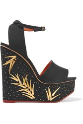 Charlotte Olympia Mischievous Embellished Canvas Wedge Sandals Black
