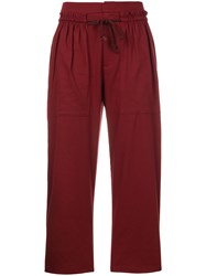 See By Chloe Drawstring Cropped Trousers Red