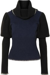 J.W.Anderson Jw Anderson Two Tone Ribbed Knit Turtleneck Sweater Navy