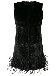 Oscar De La Renta Embroidered Hem Vest Women Silk Ermine Fur Rooster Feathers Xs Black