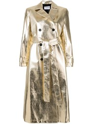 Osman Double Breasted Metallic Trench Coat Gold