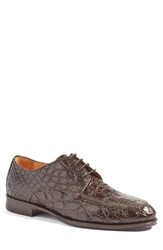 Zelli Men's 'Verona' Genuine Crocodile Apron Toe Derby Nicotine Leather