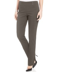 Jm Collection Petite Studded Pull On Pant Brown Clay