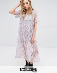 Reclaimed Vintage Awkward Length Smock Dress In Lace Lilac Purple