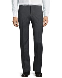 Neiman Marcus Wool Straight Leg Trousers Gray