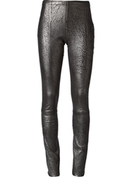 Haider Ackermann Cracked Effect Leggings Metallic