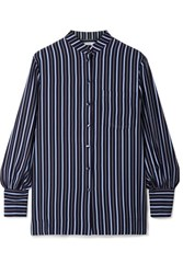 Co Striped Silk Crepe Shirt Navy
