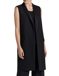Lafayette 148 New York Wool Blend With Satin Trim Vest Black