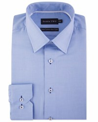Double Two Birdseye Dobby Weave Formal Shirt Pale Blue
