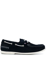 Tommy Hilfiger Contrast Stitch Boat Shoes Blue