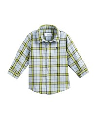 Mayoral Windowpane Checked Button Down Shirt Green