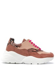 Twin Set Leather Lace Up Sneakers Neutrals