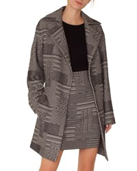 Akris Punto Notched Lapel Press Button Patchwork Jacquard Coat Black White