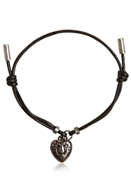 Dolce And Gabbana Waxed Strap And Metal Chain Bracelet Black