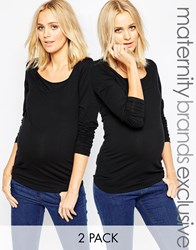 Mama Licious Mamalicious Nursing 2 Pack Long Sleeve Jersey Top Black