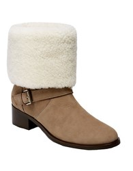 Delman Minka Suede And Shearling Cuff Ankle Boots