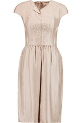 Tory Burch Jessie Embellished Satin Dress Taupe